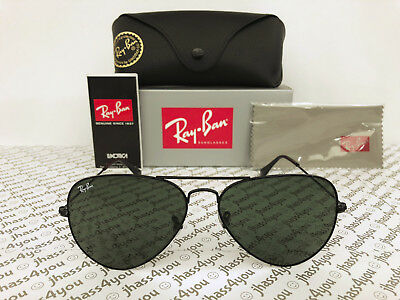 2ce33e24d1 Ray-Ban Aviator Sunglasses RB3025 L2823 Black Frame Green Classic G-15 58