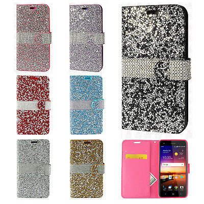 Cell Phones & Accessories United For Zte Max Xl Blade Glitter Wallet Phone Case Hybrid Extra Pocket Stand Purse Customers First Cell Phone Accessories