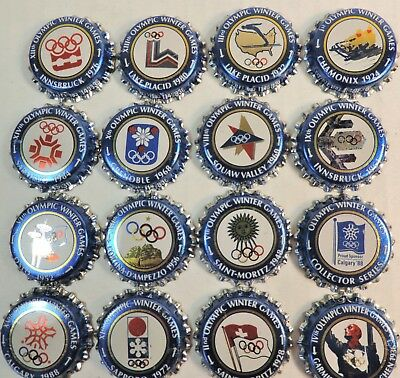 16 Vtg Labatts Blue Beer Winter Olympic Games Bottle Cap Set 1988