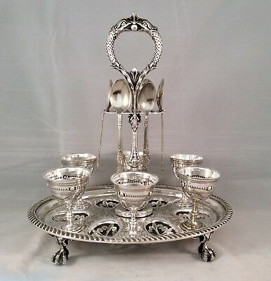 Fabulous 19th C. Antique Victorian Large Silver Plated Egg Cruet Set C1860