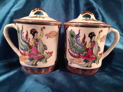 2 Chinese Porcelain Tea Cups with Lid  Beautiful Design
