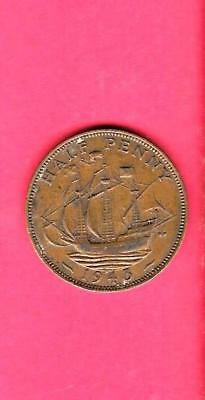 Great Britain Gb Uk Km844 1943 Vf-Very Fine-Nice Old Vintage Wwii 1/2 Penny Coin