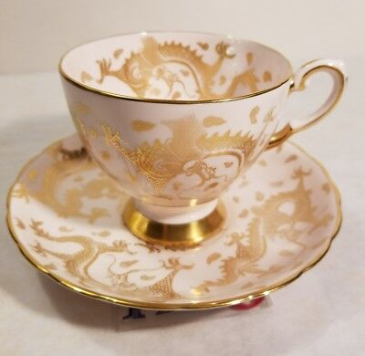 Tuscan White & Pink Gold Dragons Tea Cup & Saucer Estate Find Free Shipping