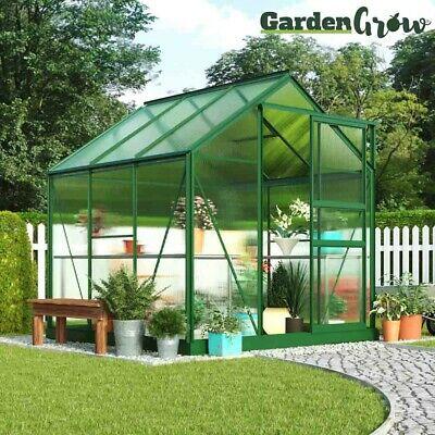 Polycarbonate Greenhouse Aluminium Sliding Door Plastic Glazing 6x6' Garden Grow