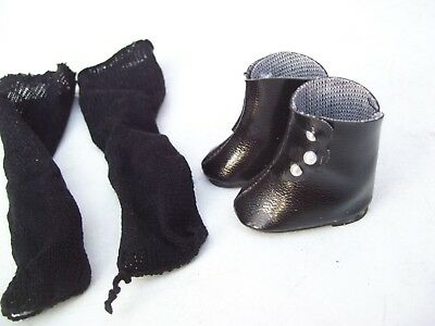 Alte Puppenkleidung Schuhe Vintage Black Boots Shoes Long Socks 40 cm Doll 5 cm