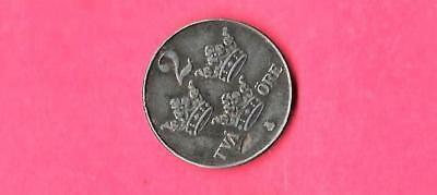 Sweden Swedish Km811 1949 Vf-Very Fine-Nice Old Vintage Antique 2 Ore Coin