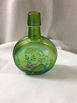 "Wheaton Glass 1971 Thomas Jefferson 3 1/4"" Green Iridescent Bottle - President"