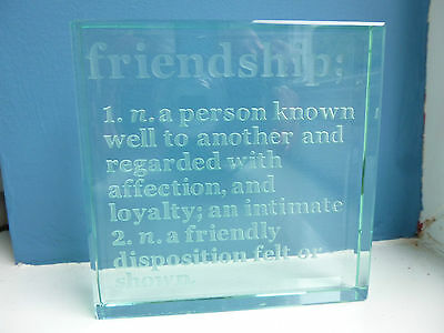 "Square Glass engraved""Friendship"" paperweight ornament 10 x 10 cm"