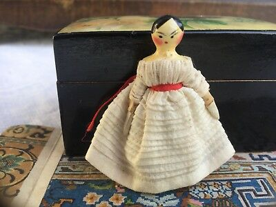 "Rare Tiny 1.6"" Antique Wooden Peg Grodnertal Doll Dressed-Antique Miniatures Box"