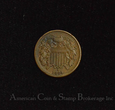 2c Two Cents 1864 VF/EF Large Motto Shield popular civil war type coin