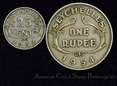 Seychelles 1 Rupee 1954 KM#13 QEII 25 CENTS - 2 COIN MIXED LOT