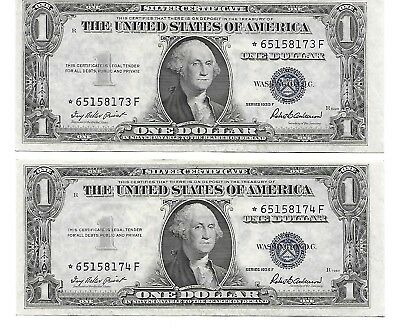 1935 F  $1 US Silver Certificate STAR  Notes (2)  Two Consecutive Serial Numbers