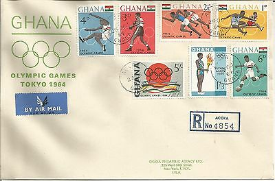 Ghana  Olympic Games Tokyo 1964 Registered Air Mail Accra to New York USA  Cover