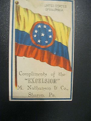 Victorian Trade Card US of Columbia Flag Excelsior M. Nathanson Sharon PA  54