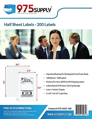"975 Supply Address Labels Half Sheet 5.5 x 8.5"" 200 Labels/Pack. 200 Labels."