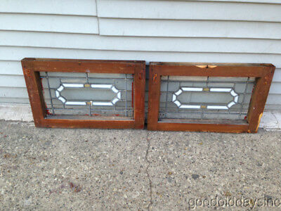 "2  Antique Chicago Stained Leaded Glass Transom Windows 22"" by 14"""