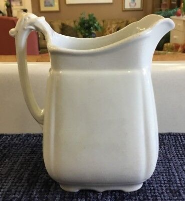 Antique White Ironstone China Small Pitcher Victory Rd 30 John Edwards