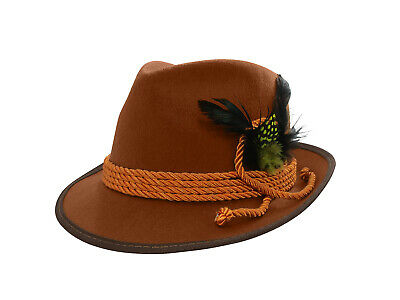 Oktoberfest German Fedora Brown Hat Adult Costume Alpine Swiss Tyrolean Bavarian