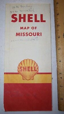 1950 Shell Oil Co Map of Missouri Road Map