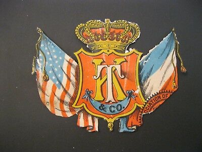 Victorian Trade Card VTG K T & Co. Emblem FLAGS American Crown Die Cut 55