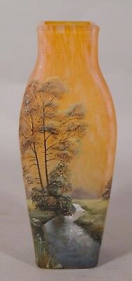 Large SCENIC Antique FRENCH Cameo Cut & Enameled Art Glass Vase Sgd LAMARTINE