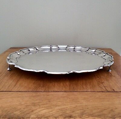 "Fine Quality Antique 14"" Silver Plated Footed Salver Tray Roberts & Dore C1900"