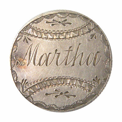Canadian 1871 10 Cents Victoria Love Token Engraved Martha