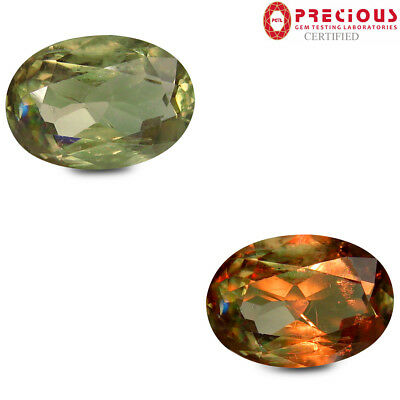 6.85 ct PGTL Certified Oval (15 x 10 mm) UnHeated Color Change Diaspore Gemstone