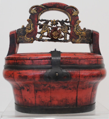 Antique Vintage Red Chinese Hand Painted Wooden Rice Basket Lunch Box (690)