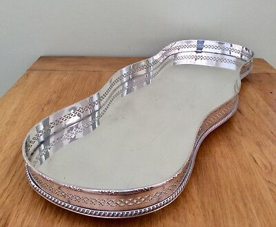 """Rare Antique 19.5"""" Silver On Copper Footed Serpentine Mirror Gallery Tray C1900"""