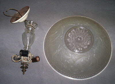 """Antique Vintage Chandelier Hanging Ceiling Light Fixture Frosted 15"""" Glass Shade"""