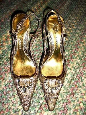 "J. Renee Gold Sling-Back Heels Gold/clear Bead Trim 3 1/2"" Heel  Sz 8 1/2M"