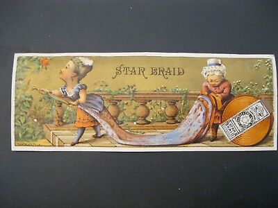 RARE Victorian Trade Card VTG H.S. Holmes Chelsea MI Salt Fish STar Braid 55