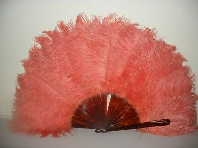 "Vintage Orange Ostrich Feather Fan Approximately 12.5"" High & 24"" Across"