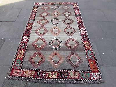 Old Hand Made Traditional Persian Rugs Oriental Wool Brown Grey Rug 246x139cm