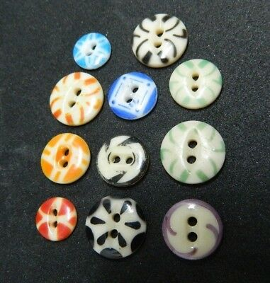 LOT of 11 Antique China STENCIL Buttons - Many color & Patterns