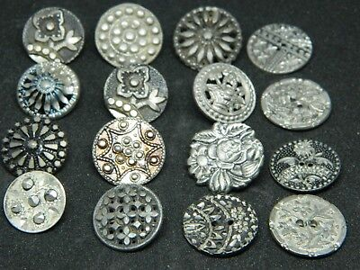 LOT of 16 Antique Vtg METAL Buttons Victorian OLD PEWTER Pressed Designs