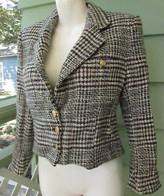 GRAHAM & GUNN HOUNDSTOOTH PLAID PURE VIRGIN WOOL BLAZER VINTAGE JACKET Women's 6