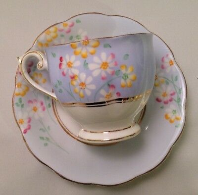 Bell China English Fine Bone China Cup and Saucer Blue w Flowers