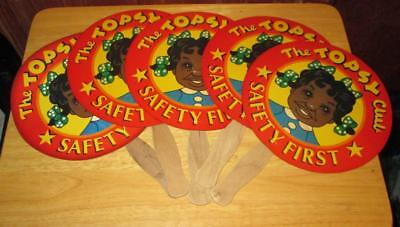 Rare Lot 5 Topsy Club Hand Church Paper Sign Fans Vintage Advertising Nice