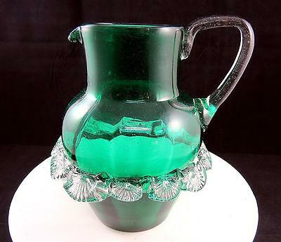 "Bohemian Czech Art Glass Green Optic 7 1/4"" Pitcher Clear Center Rigaree Band"