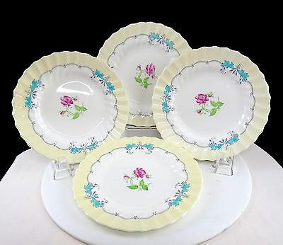 """Royal Doulton 4 Picardy Pink Floral Centers 6 1/8"""" Bread & Butter Plates 1946-60"""