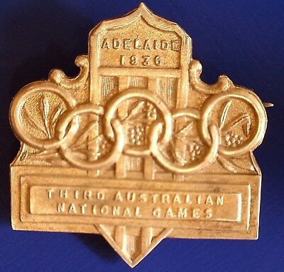 1936 Adelaide Olympic Trial Third National Games Silver Badge of High Rarity