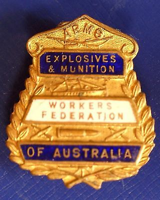 Vintage Arms Explosives & Munitions Workers Federation of Australia Member Badge