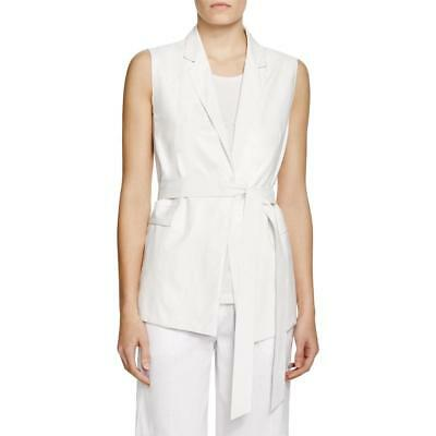 Lafayette 148 7604 Womens Scarlet White Leather Collared Casual Vest L BHFO