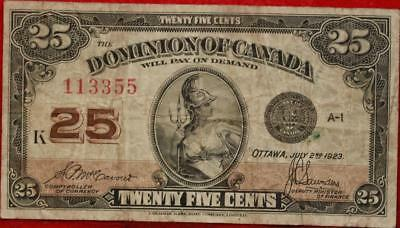 1923 Dominion Of Canada 25 Cents Note