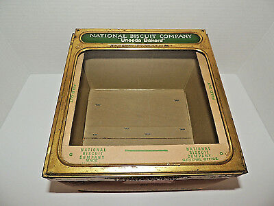 1923 Antique NATIONAL BISCUIT CO Nabisco Waffle Box w/ Tin, Glass Front