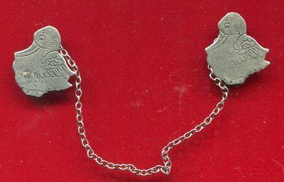 """Vintage Sterling Silver Sweater Chain """"two Ducks"""""""
