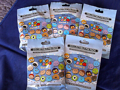 Disney * TSUM TSUM SERIES #5 * 5 PACKS * NEW 5-pin Collectible Mystery Pack Pins
