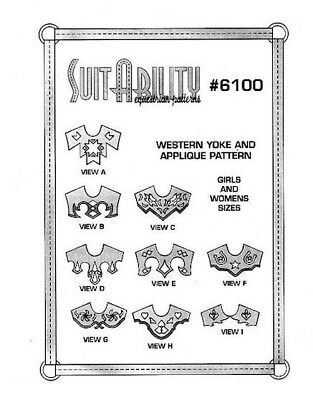 Suitability Western Horse Show Shirt Yokes Sewing Patterns Set 6100